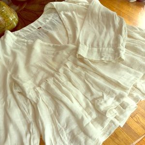 Free People Offwhite linen deep V festival top